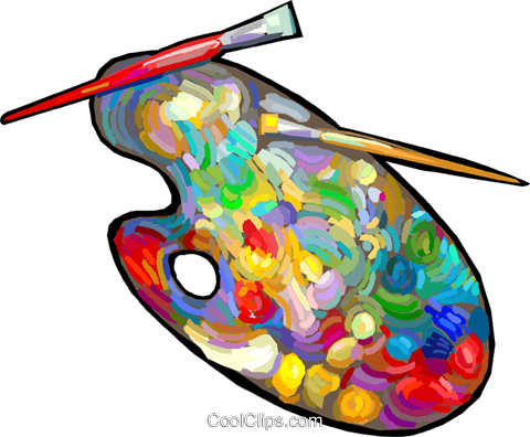 Farbpalette mit pinsel clipart jpg royalty free library Farbpalette und Pinsel Vektor Clipart Bild -vc024889-CoolCLIPS.com jpg royalty free library