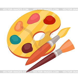 Farbpalette mit pinsel clipart vector download Farbpalette mit Farben und Pinsel - Vektor-Clipart EPS vector download