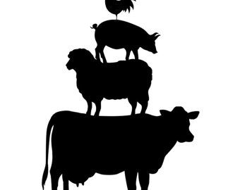 Farm animal clipart black and white cricut banner library Rustic Farm Animals Cards Cow Sheep Pig Rooster Set by thegirlsmom ... banner library