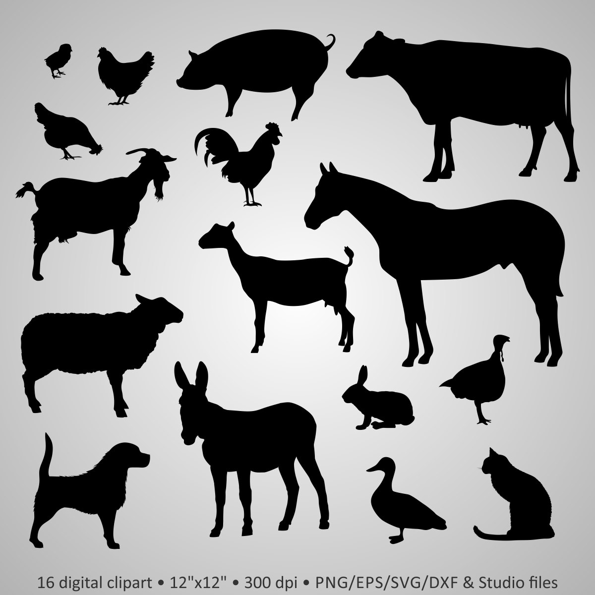 Farm animal clipart black and white cricut picture library PNG Farm Animals Black And White Transparent Farm Animals Black And ... picture library
