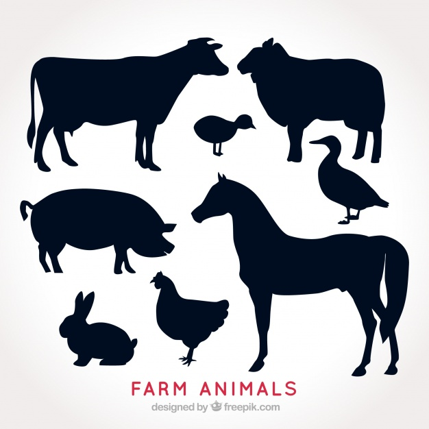Farm animal silhouette clipart free png library download Pack of farm animal silhouettes Vector | Free Download png library download