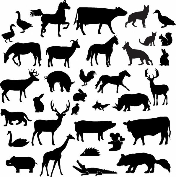 Farm animal silhouette clipart free banner library download Farm animal silhouette collection Free vector in Adobe Illustrator ... banner library download