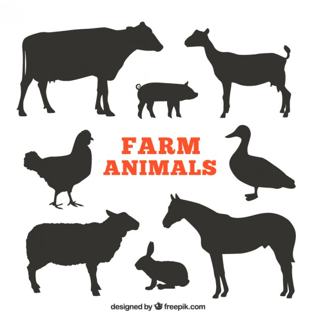 Farm animal silhouette clipart free picture download Silhouettes of farm animals Vector | Free Download picture download
