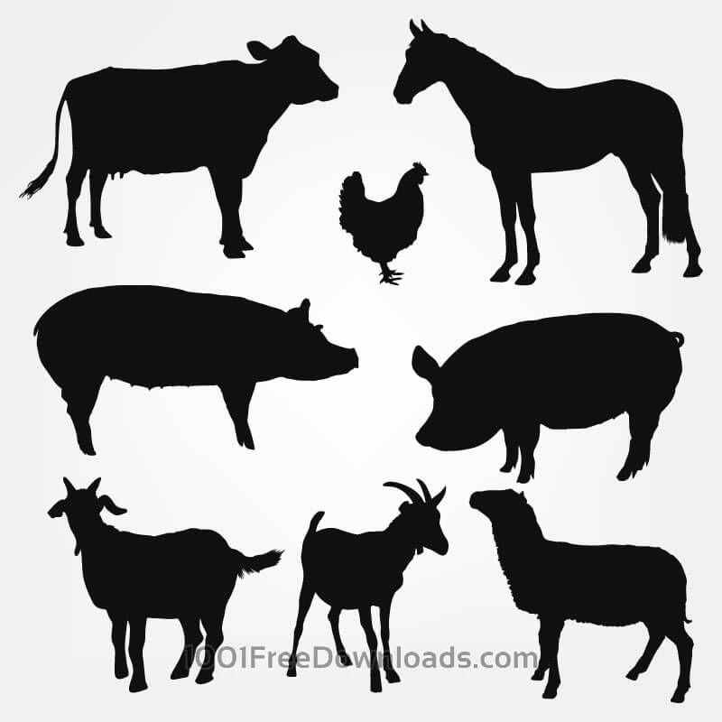 Farm animal silhouette clipart free vector black and white stock Free Vectors: Vector Farm Animals Silhouettes | Design | Silhouette ... vector black and white stock