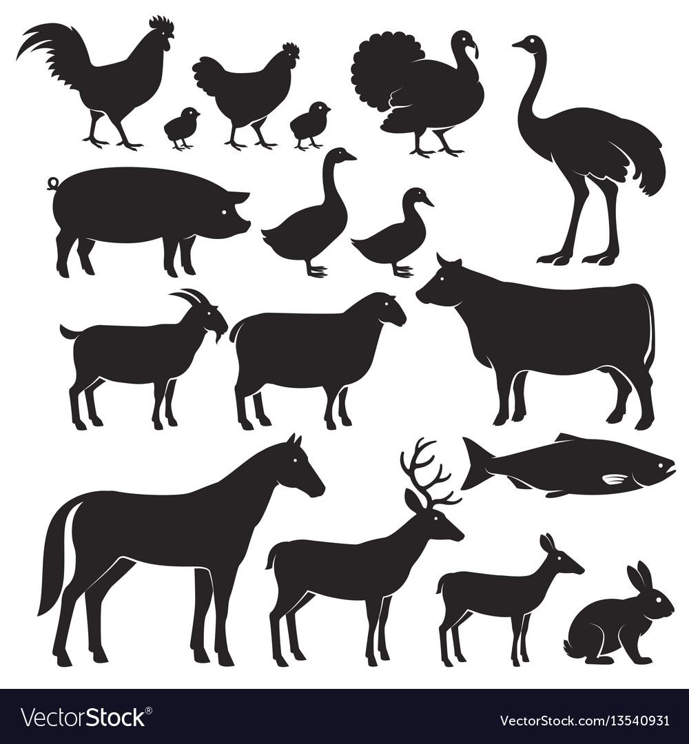 Farm animal silhouette clipart free image royalty free Farm animals silhouette icons image royalty free