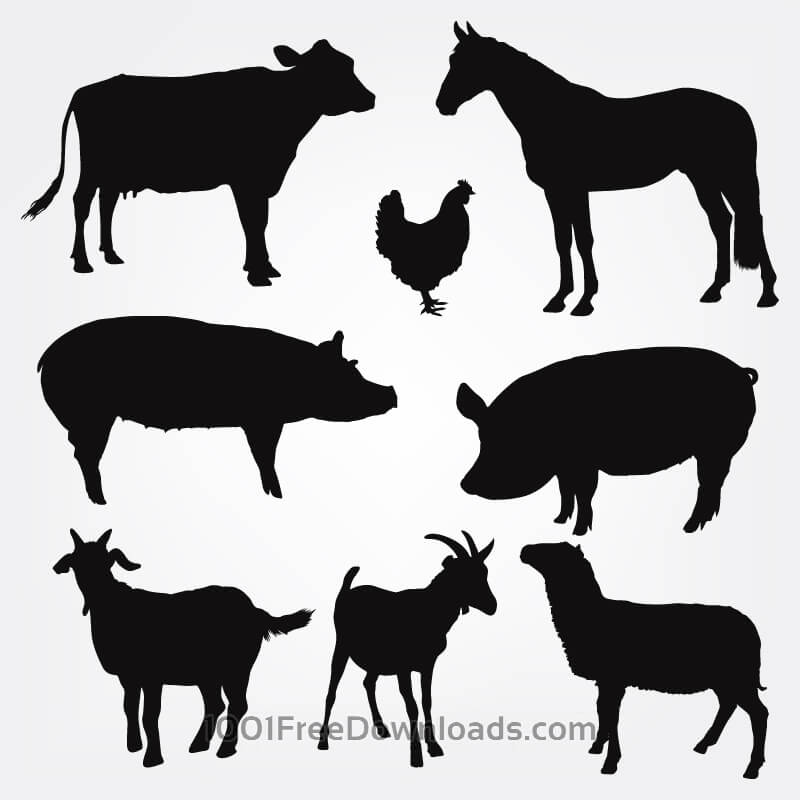 Farm animal silhouettes clipart svg download Free Vectors: Vector Farm Animals Silhouettes   Design svg download