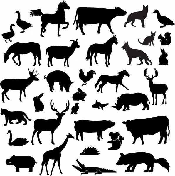 Farm animal silhouettes clipart svg free download Farm animal silhouette collection Free vector in Adobe Illustrator ... svg free download