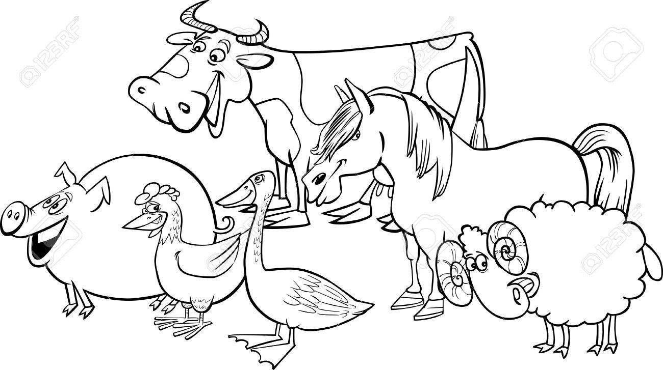Free black and white farm animal clipart png black and white download funny animals) farm animals clipart black and white 562 | funny ... png black and white download