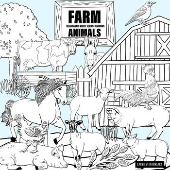 Farm animals clipart black and white duck svg freeuse library Farm Animals Black and White Line Art Illustrations - ClipArt svg freeuse library