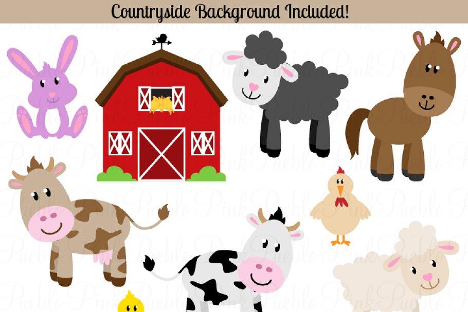 Vector clipart set animals svg free Farm Animals Vectors and Clipart svg free