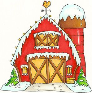 Farm christmas clipart picture royalty free stock Winter Barn - LY919 | printables and coloring book images ... picture royalty free stock