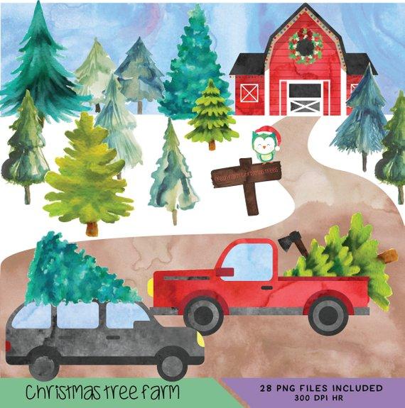 Farm christmas clipart clip art transparent download Christmas Tree Farm, Tree Farm Clipart, Tree Truck Clipart ... clip art transparent download