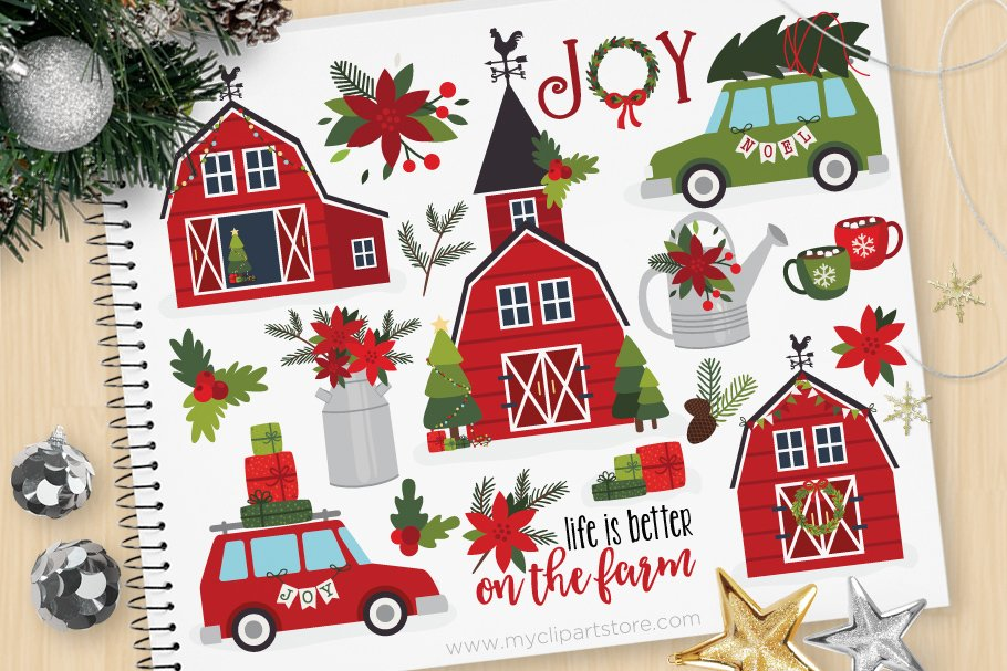 Farm christmas clipart picture stock Christmas Farm House Clipart + SVG picture stock