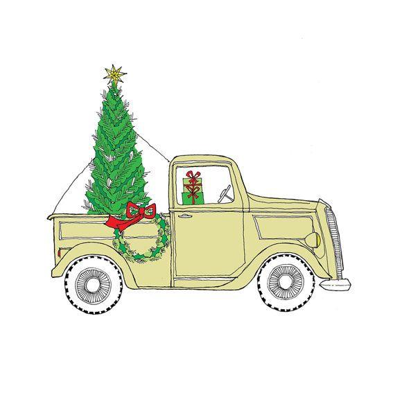Farm christmas clipart vector stock Vintage Truck at the Tree Farm Christmas Card set by rachelink on ... vector stock