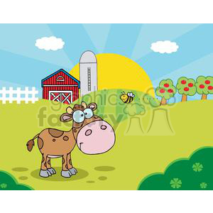 Farm scene clipart library Country Farm Scene with Cute Baby Calf watching a flying bee clipart.  Royalty-free clipart # 379440 library