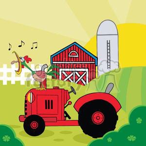 Farm scene clipart svg freeuse download Country Farm Scene With Rooster Crowing Of The Rising Sun In Vintage  Tractor clipart. Royalty-free clipart # 379495 svg freeuse download