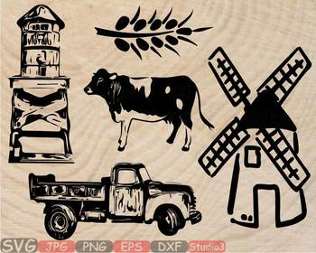 Wood farm house clipart picture freeuse library Farm Life Silhouette SVG clipart Windmill truck car cow wood farmhouse 841s picture freeuse library