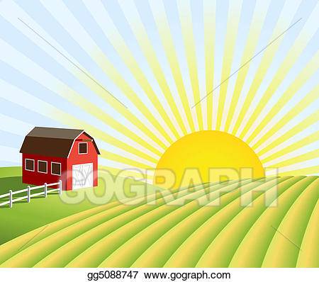 Farming field clipart svg free download Stock Illustrations - Farm and fields at sunrise. Stock Clipart ... svg free download