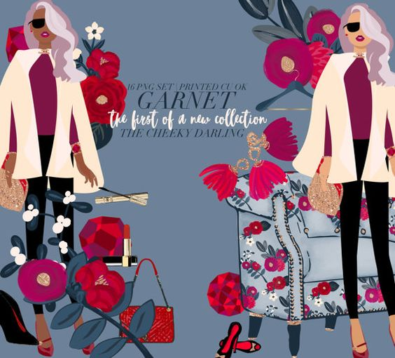 Fashion logo clipart commercial use banner transparent Planner Clipart Garnet January Valentines Day Floral Fashion Girl ... banner transparent