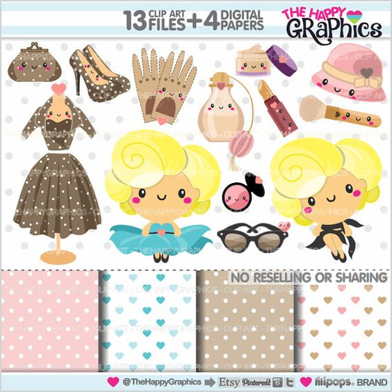 Fashion logo clipart commercial use clip art free download Marilyn Monroe Clipart, Diva Clipart, COMMERCIAL USE, Kawaii ... clip art free download
