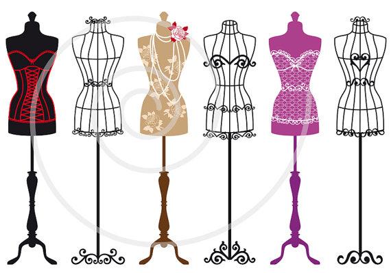 Fashion mannequin clipart picture freeuse Vintage mannequin digital clip art set, tailor\'s dummy, dress forms ... picture freeuse