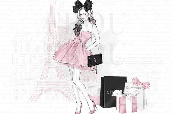 Fashion model clipart eiffel tower clip art graphic Paris Clipart, Valentines Clip Art, Fashion Planner Girl, Eiffel ... graphic