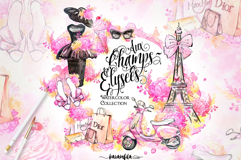 Fashion model clipart eiffel tower clip art graphic royalty free library Paris Fashion Clipart ~ Illustrations ~ Creative Market graphic royalty free library