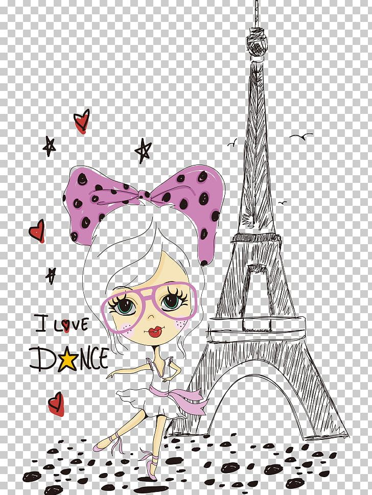 Fashion model clipart eiffel tower clip art vector library library Eiffel Tower Cartoon Tourism In Paris Illustration PNG, Clipart ... vector library library
