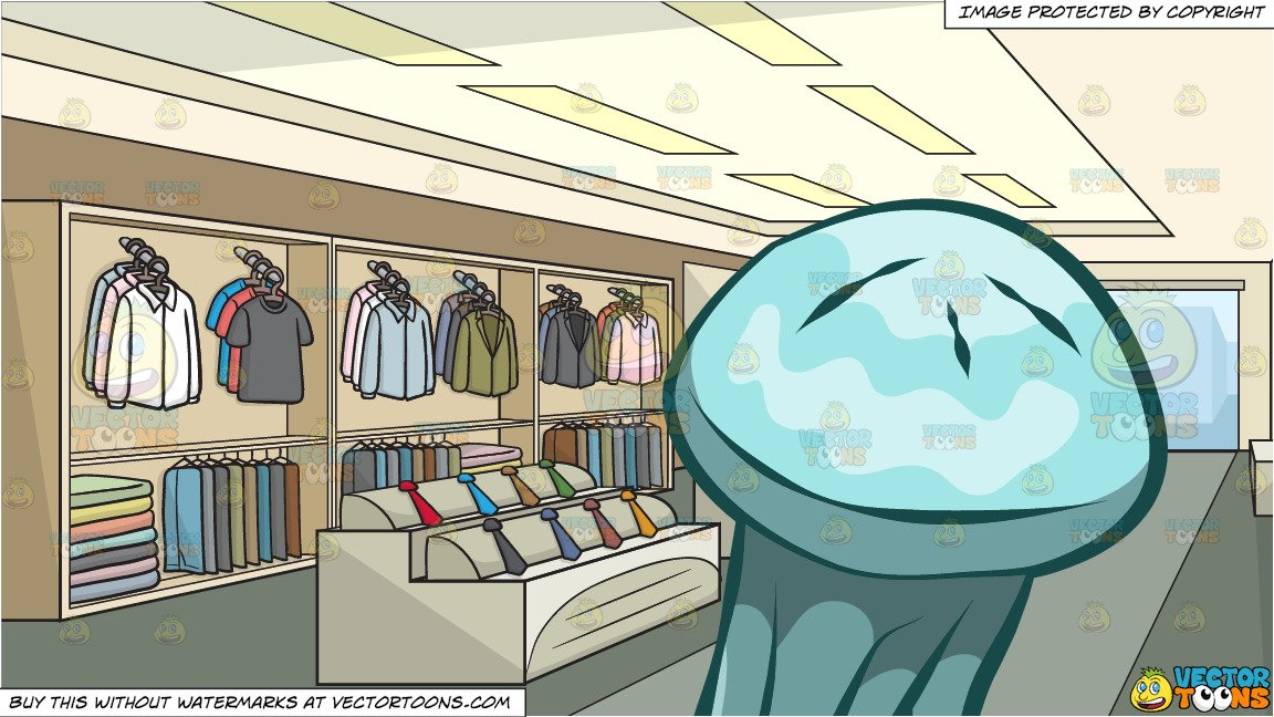 Fashion shop clipart clip art royalty free stock A Translucent Jellyfish and Inside A Clothing Shop For Men Background clip art royalty free stock