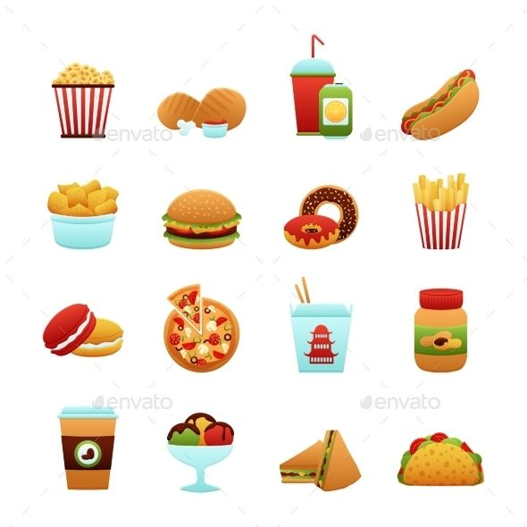 Fast food icon clipart vector freeuse library Pin by Jatzi Labanda on Papeetas❤️ in 2019 | Food icons, Food ... vector freeuse library