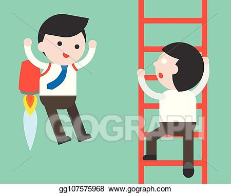 Fast track clipart banner free download Vector Illustration - Businessman climb a ladder and businessman ... banner free download