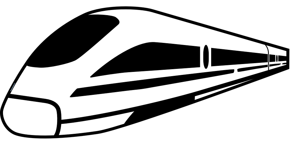 Fast train clipart black and white