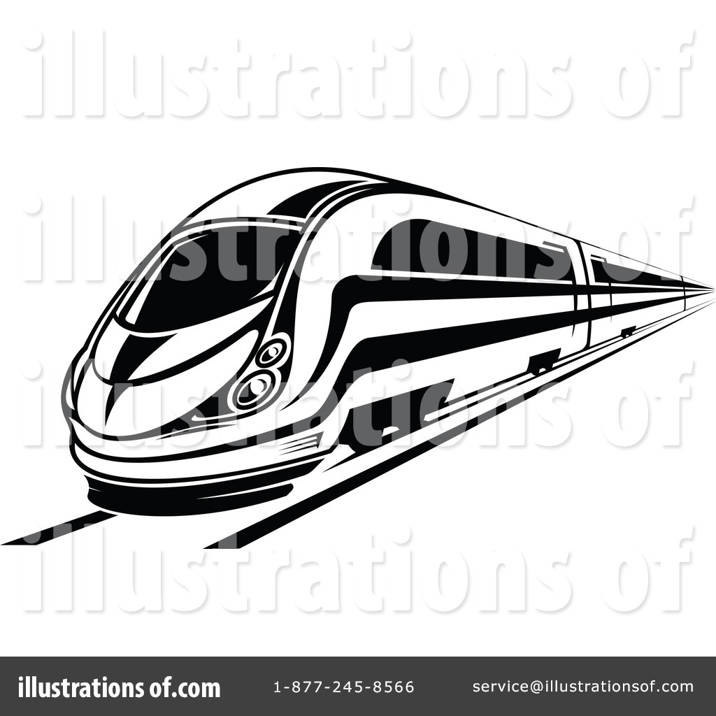 Fast train clipart black and white vector library Train Clipart #1062450 - Illustration by Vector Tradition SM vector library