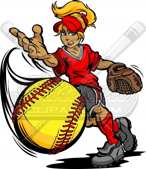 Fastpitch clipart clipart black and white stock Fastpitch Softball Pitcher. Softball Player Cartoon Clipart. clipart black and white stock