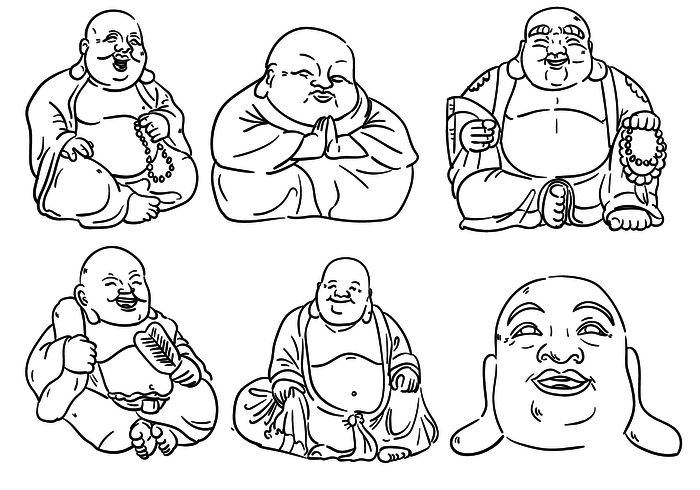 Fat buddha clipart vector library download Fat Buddha Outlines - Download Free Vectors, Clipart Graphics ... vector library download