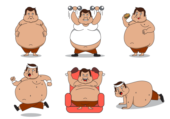 Fat guy basketball clipart picture black and white stock Fat Cartoon Group (52+) picture black and white stock
