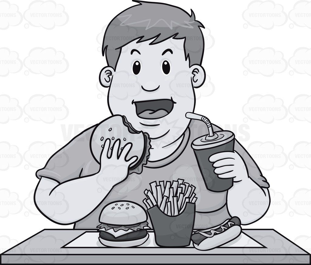 Fat guy fishing clipart black and white clip transparent stock Fat Guy Eating A Lot Of Fast Food #chubby #diet #dieting #double ... clip transparent stock