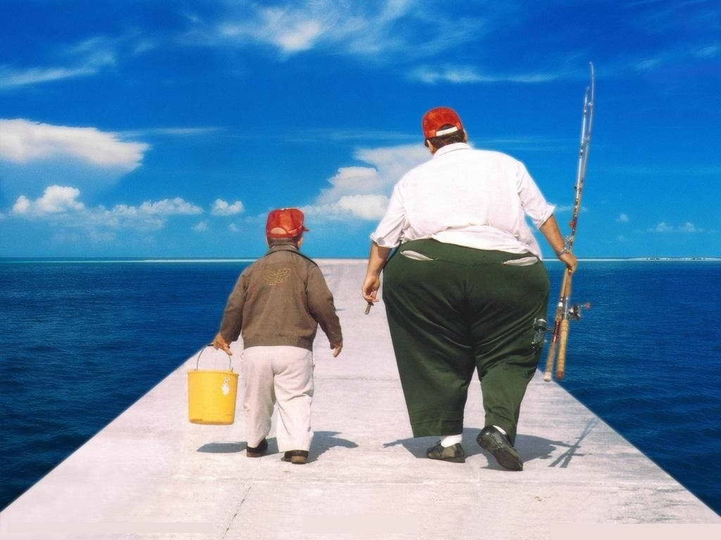 Fat guy fishing clipart black and white jpg royalty free library Fat Guy Fishing - Making-The-Web.com jpg royalty free library