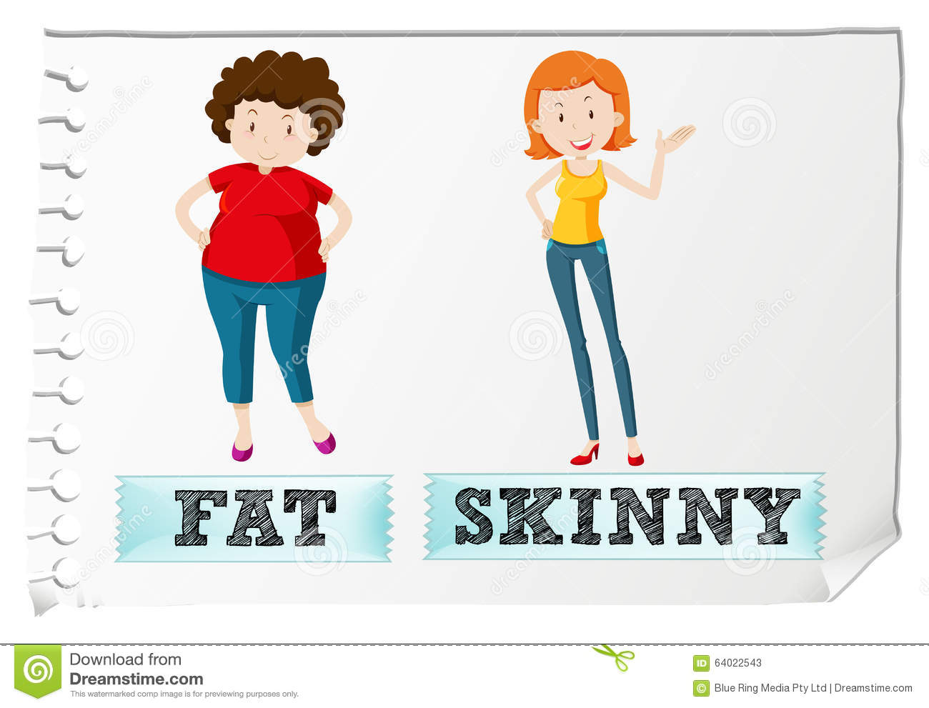Fat thin clipart free stock Opposite Adjectives With Fat And Skinny Stock Vector - Image: 63733975 free stock