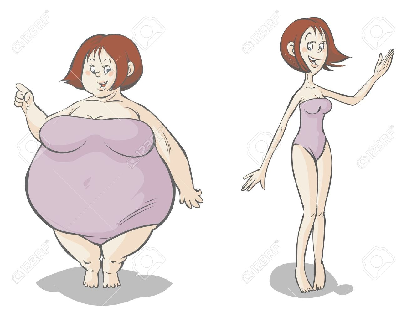 Fat vs thin clipart clipart freeuse stock Cartoon Fat-slim Female Characters Royalty Free Cliparts, Vectors ... clipart freeuse stock
