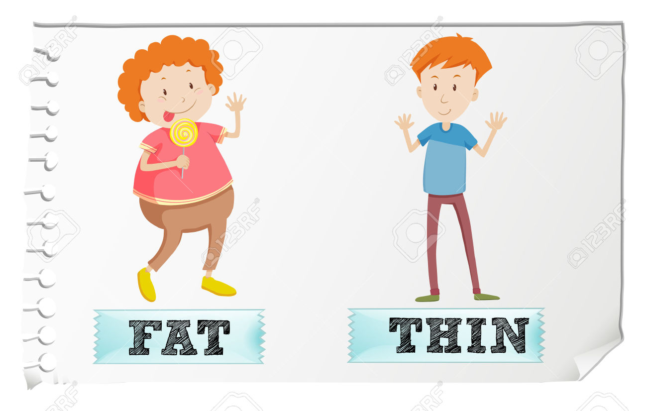Fat vs thin clipart royalty free library Opposite Adjectives Fat And Thin Illustration Royalty Free ... royalty free library