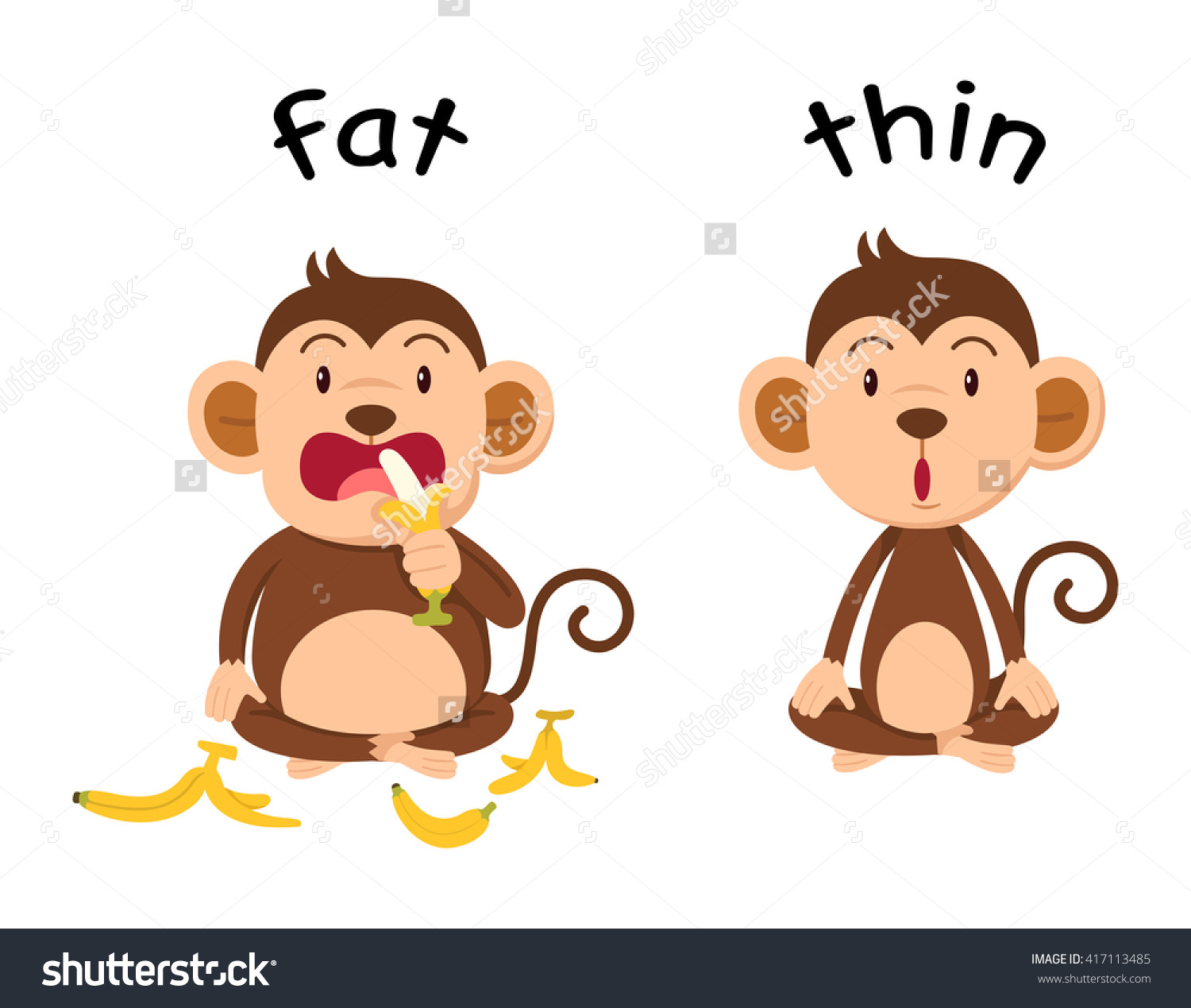 Fat vs thin clipart jpg stock Opposite Words Fat Thin Vector Illustration Stock Vector 417113485 ... jpg stock