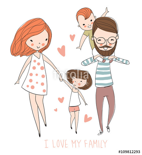 Father and mother clipart brown clip Happy family. Father, mother, baby.\