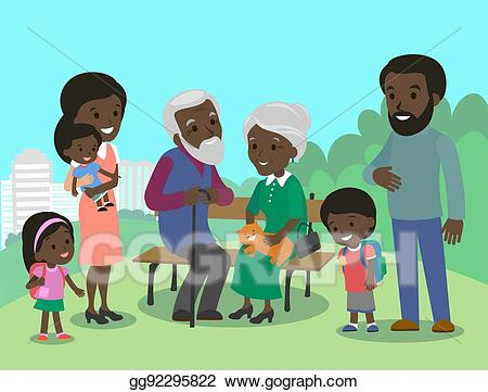 Father and mother clipart brown clip royalty free library Vector Illustration - Big african family characters with mother ... clip royalty free library
