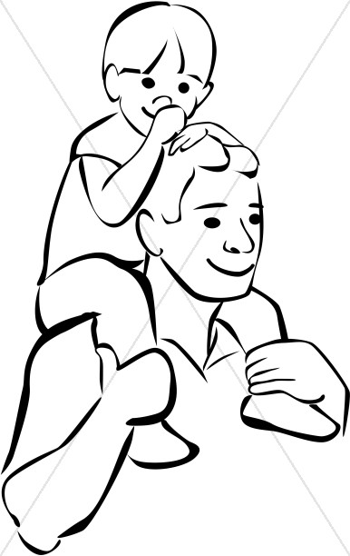 Picture of father clipart black and white svg library Son on Fathers Shoulders in Black and White | Father\'s Day svg library