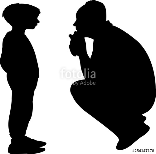 Father and son talking clipart svg freeuse stock father and son talking, silhouette vector\