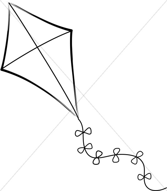 Kite clipart without string black and white