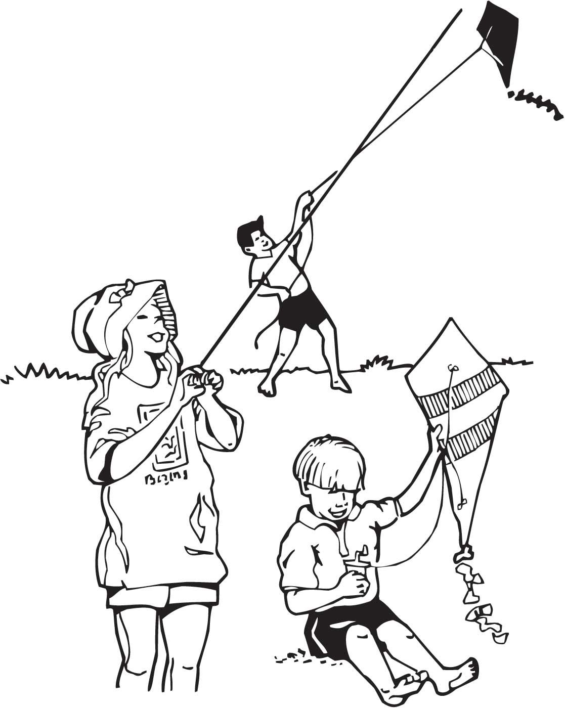 Father can fly a kite clipart black and white jpg free library Children Flying Kite Drawing at PaintingValley.com | Explore ... jpg free library