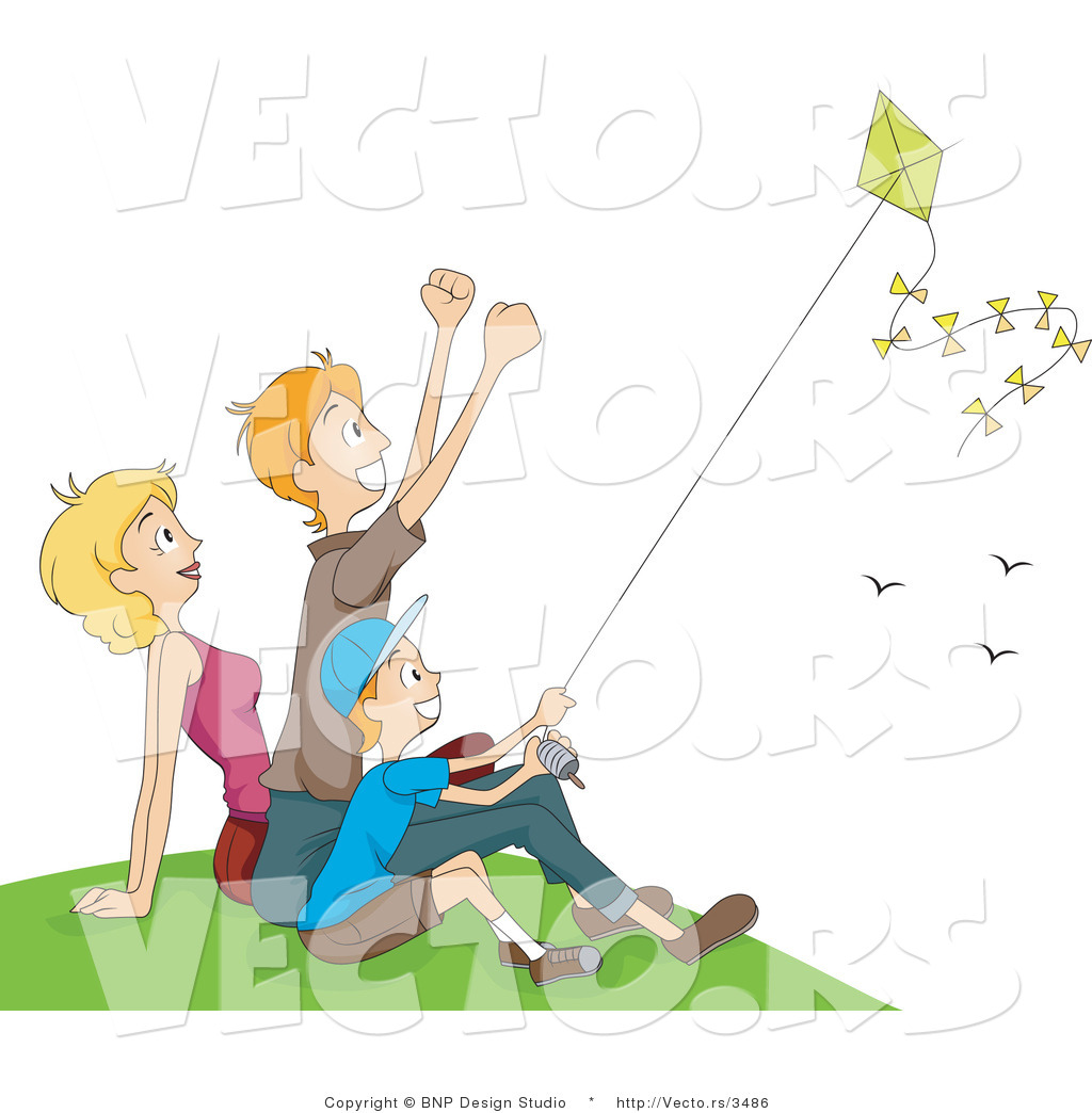 Father can fly a kite clipart black and white graphic transparent download Vector of Happy Mom, Dad and Boy Flying a Kite at a Park by BNP ... graphic transparent download