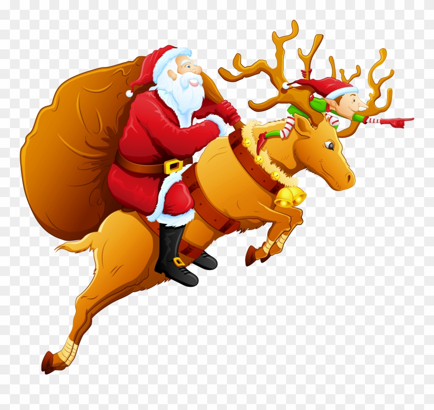 Father christmas and reindeer clipart clipart free Christmas Png Santa Santa And Reindeer Clip Art Clipart - Santa And ... clipart free